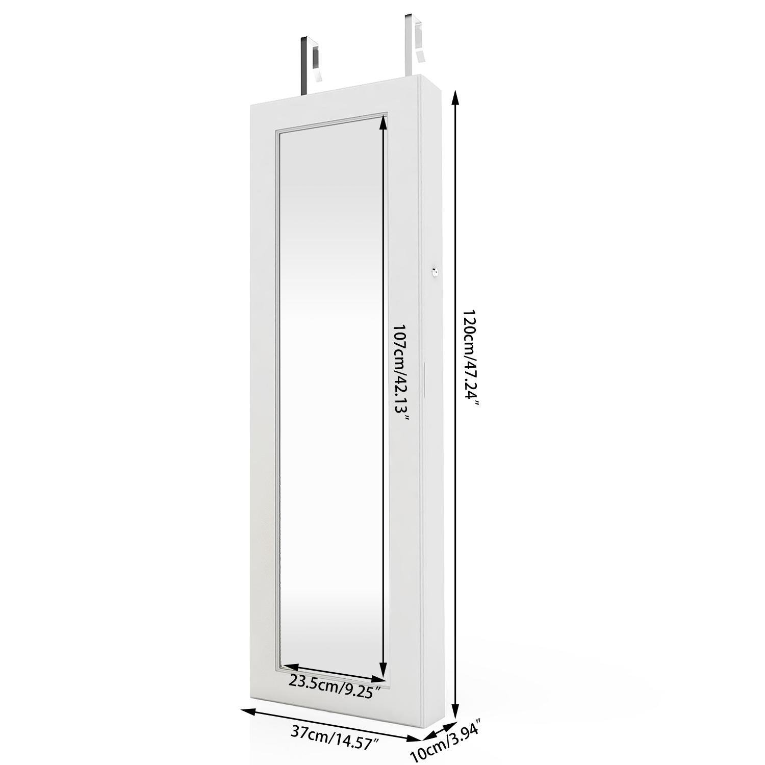 Elever Space Save Jewelry Cabinet - Large Storage Capacity- Lockable White Jewelry Armoire W/ Key - LED Jewelry Holder Organizer Wall Door Mount by Elever (Image #7)