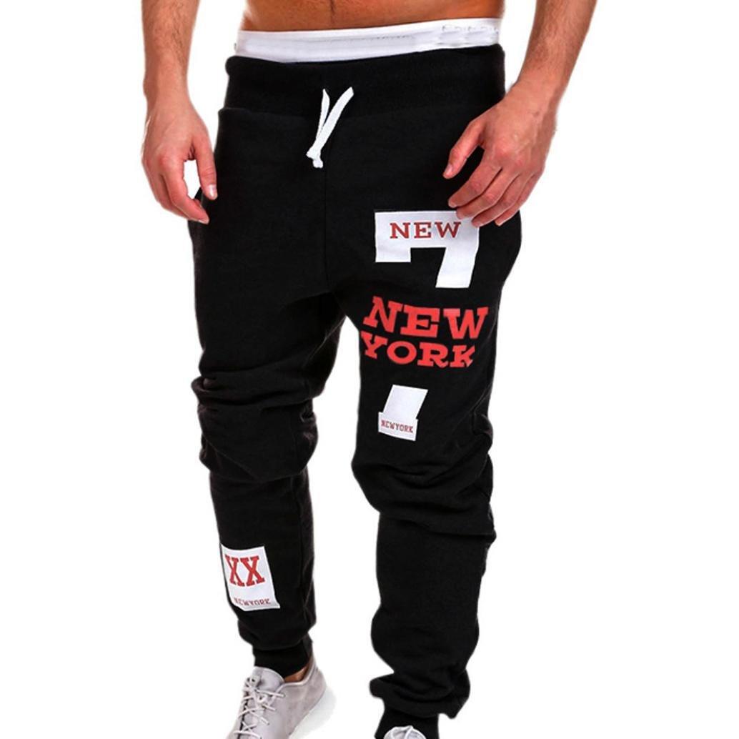 Realdo Men's Casual Trousers, Fashion Pants Letter Print New York Sweatpants