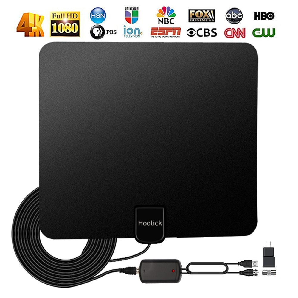 Antenna TV Digital HD, Indoor Digital Antenna for HDTV 1080P 4K 50+ Miles Range with 2018 Newest Type Detachable Amplifier Signal Booster, USB Power Supply And 13.2ft Coax Cable Hoolick