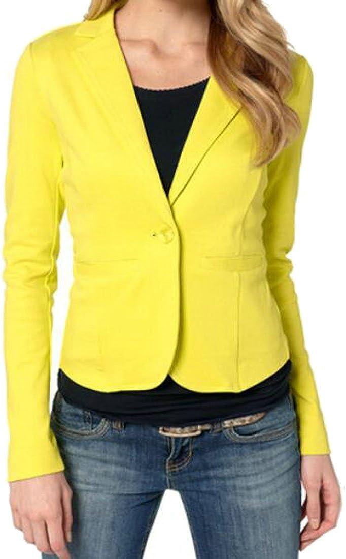 MK988 Women Office Pure Color OL Stylish 1 Button Casual Blazer Jacket Suit Coat