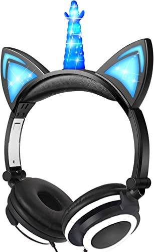 GBD Glowing Unicorn Headphones for Kids Boys Girls Toddlers Holiday Birthday Musical Gifts, Light Up Game Headset Headphone for Kids Tablets School Travel Exclusive Black Blue