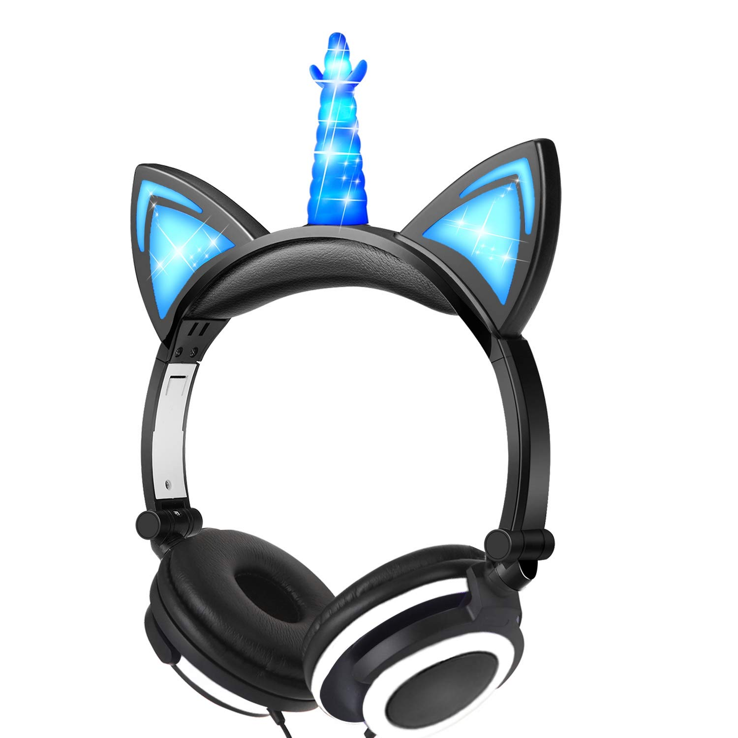 GBD Glowing Unicorn Headphones for Kids Boys Girls Toddlers Holiday Valentines Day Birthday Musical Gifts, Light Up Game Headset Headphone for Kids Tablets School Travel Exclusive Black/Blue