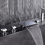Jiayoujia Waterfall Roman Tub Filler Faucet with Personal Hand Shower