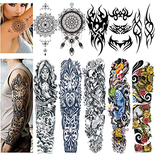 Full Arm Temporary Tattoo, Extra Large Tattoo Stickers for Men and Women, Fake Arm Chest Shoulder Body Tattoo Stickers (10 Sheets)