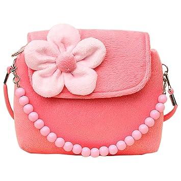 Fablcrew bolso princesa con flores de fieltro, con cuentas, para niñas pequeñas rosa rosa Talla:14x4x12cm