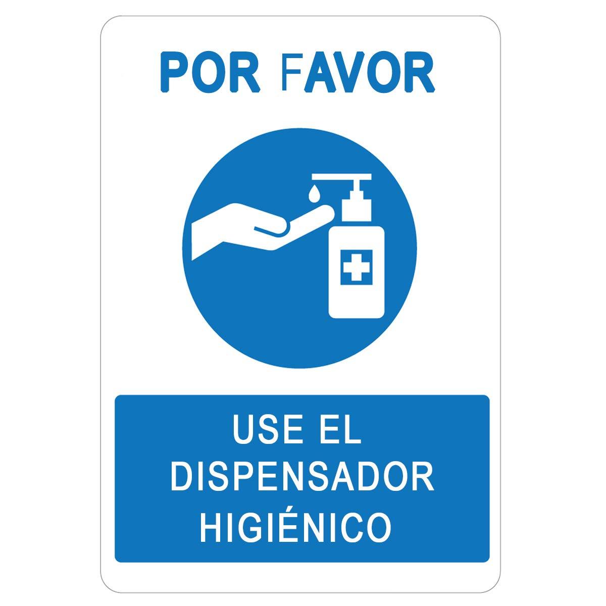 Señalización COVID-19   Cartel Dosificador Higiénico para empresas, comercios, oficinas   Señal Coronavirus   Autoinstalable  21 x 30 cm   Descuentos por Cantidad