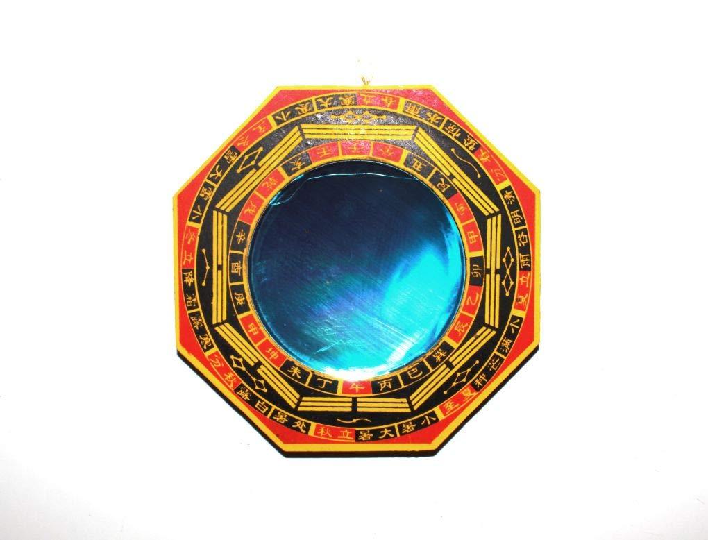 ottagonali 1 specchio convesso di protezione dall/'energia nociva diametro degli specchi 7,5 cm 1 specchio concavo di protezione dall/'energia negativa passiva set di protezione diametro comp con cornice in legno New Age Specchio Ba Gua