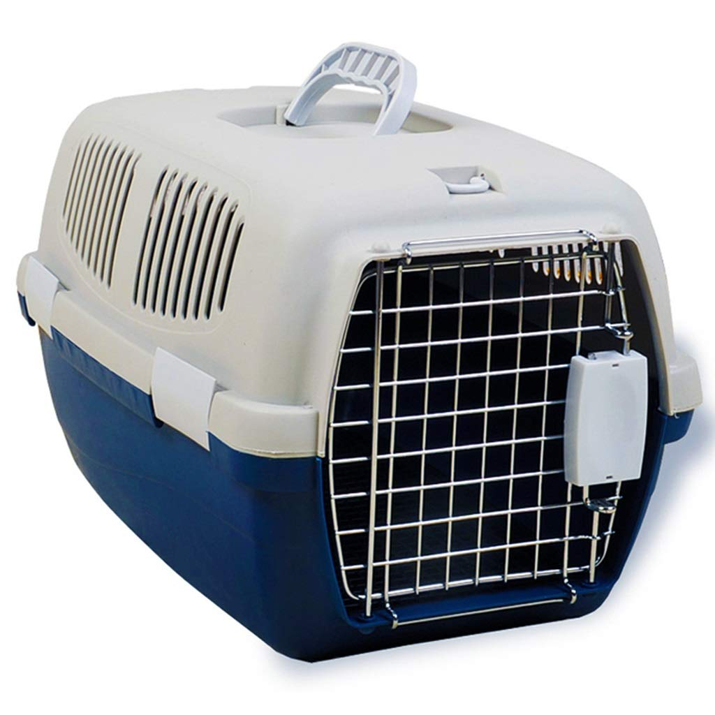bluee L 62×39×36cmJlxl Pet Carry Box, Car Transport Carrier Cat Case Plastic Aviation Nest Dogs Nonslip Cage With Lock Handle (color   Purple, Size   L 62×39×36cm)