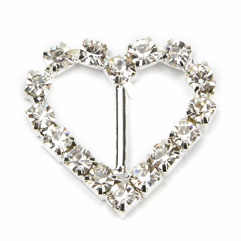 GOOTRADES Rhinestone Buckle Slider for Invitation Wedding Letter (pack of 10) (Heart-shaped)