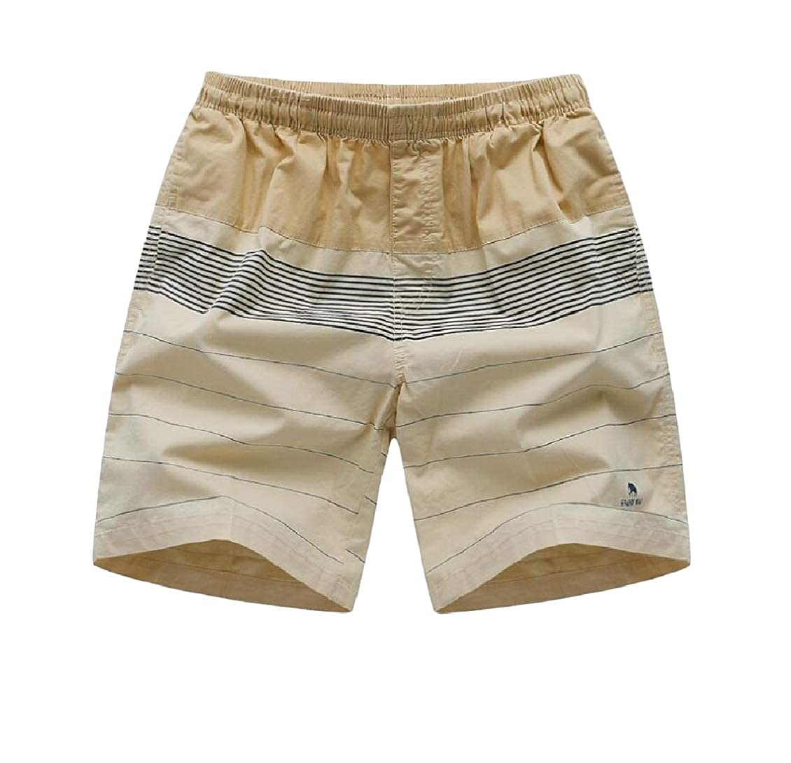 Hajotrawa Mens Beach Slim Stripe Contrast Color Cotton Sports Shorts