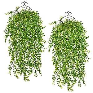 "SunmboutiqueArtificialHanging PlantsVinesFernsPersianRattans,Greenery HangingQueen BostonIvy withUVResistantPerformanceforSafari Jungle Party WeddingHanging Basket Decor, 32"" 17"