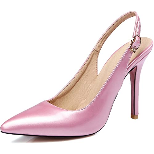 KingRover Womens Pointed Toe Slingback Stiletto High Heel Party Pumps Court Shoes