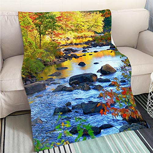 Luxury Super Soft Blanket New Hampshire Forest River in Autumn Perfect for Couch Sofa or Bed Cool Quilt