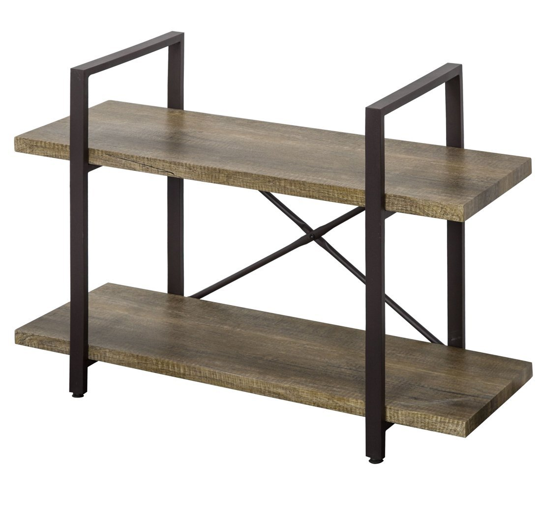 O&K Furniture 2-Tier Bookcase, Vintage Industrial Style Bookshelves, Vintage Green