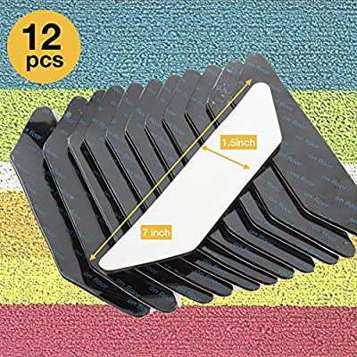 THINK ART Rug Grippers-12pc Premium Large Size Anti Curling Carpet Tape Rug Gripper, Ultra Stop Non-Slip Rug Pad Rug Gripper Pads Anti Curling Anti Slip for Corners and Edges Renewable