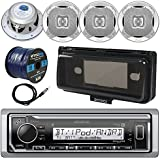 Kenwood KMR-M322BT In-Dash Marine Boat Audio Bluetooth USB Receiver, Waterproof Protective Cover Bundle Combo, 4x 400W 6.5 Silver Coaxial Speakers, Radio Antenna, 16g 50ft Speaker Wire