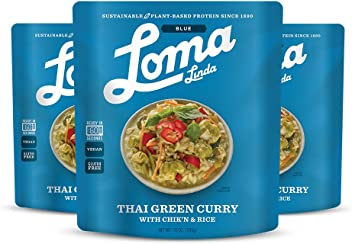 Loma Linda Blue - Vegan Complete Meal Solution - Heat & Eat Thai Green Curry (10 oz.) (Pack of 3) - Non-GMO, Gluten Free