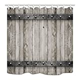HNMQ Rustic Barn Door Shower Curtain, Wood with Metal Texture Western Country Theme House Decor, Premium Mildew Resistant Fabric Bathroom Decorations, Bath Curtains Hooks Included, 69X70 inches