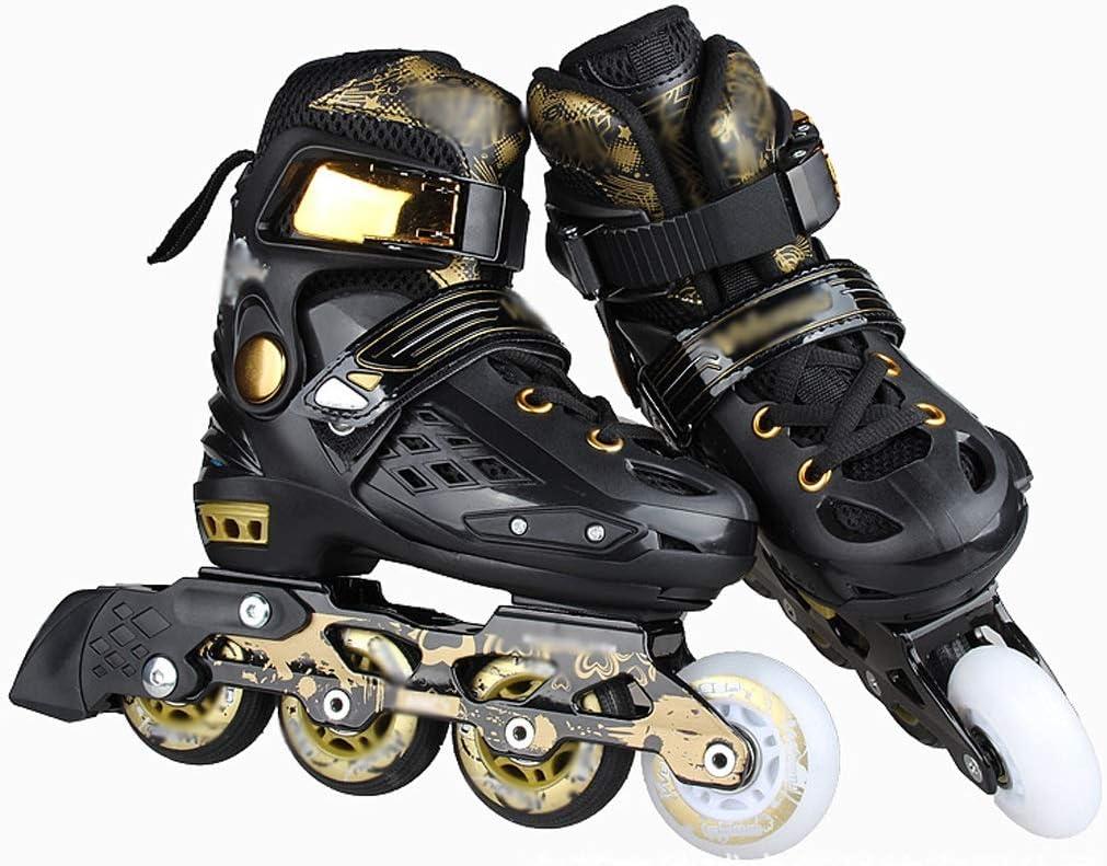 調節可能なコード子供のローラースケートフラットフラワーシューズローラーシューズスケートスケート 2月の春のそよ風 (Color : 黒, Size : M:34-37cm) 黒 M:34-37cm