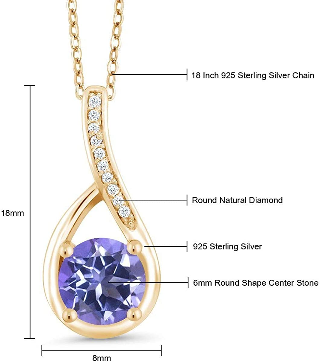 Gem Stone King 1.07 Ct Blue Mystic Topaz and Diamond 18K Yellow Gold Plated Silver Infinity Pendant