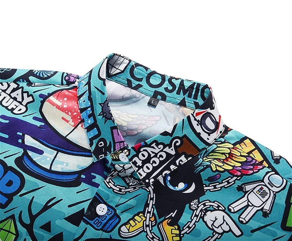 YANJK Mens Shirt Short Sleeve Fashion Casual Print Shirt Slim Wild Beach Flower Shirt