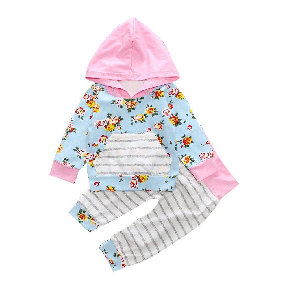 feiXIANG Conjunto de Ropa para niñas de niños recién Nacidos Bebé Niños Chicas con Capucha Floral Tops + Pantalones Deportivos Ocasionales Conjunto de Ropa: ...
