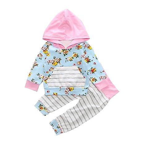 feiXIANG Conjunto de Ropa para niñas de niños recién Nacidos Bebé Niños Chicas con Capucha Floral