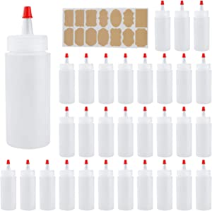 4oz Plastic Squeeze Bottles with Airtight Red Tip Caps, Great for Ketchup, BBQ, Sauces, Syrup, Condiments, Dressings, Arts and Crafts, Set of 30