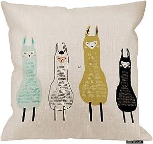 HGOD DESIGNS Llama Pillow Cover,Funny Cartoon Cute Llamas Childish Lama Design Cotton Linen Cushion Covers Home Decorative Throw Pillowcases 18x18inch