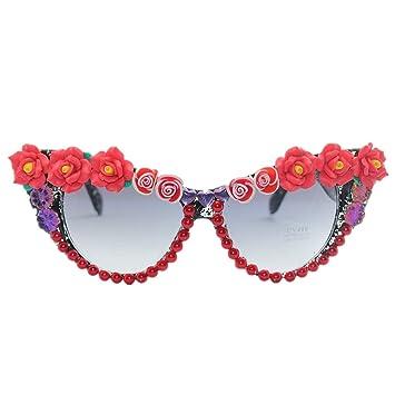 Ju-sheng Gafas de Sol de Mujer Rosa roja Hecha a Mano Gafas ...