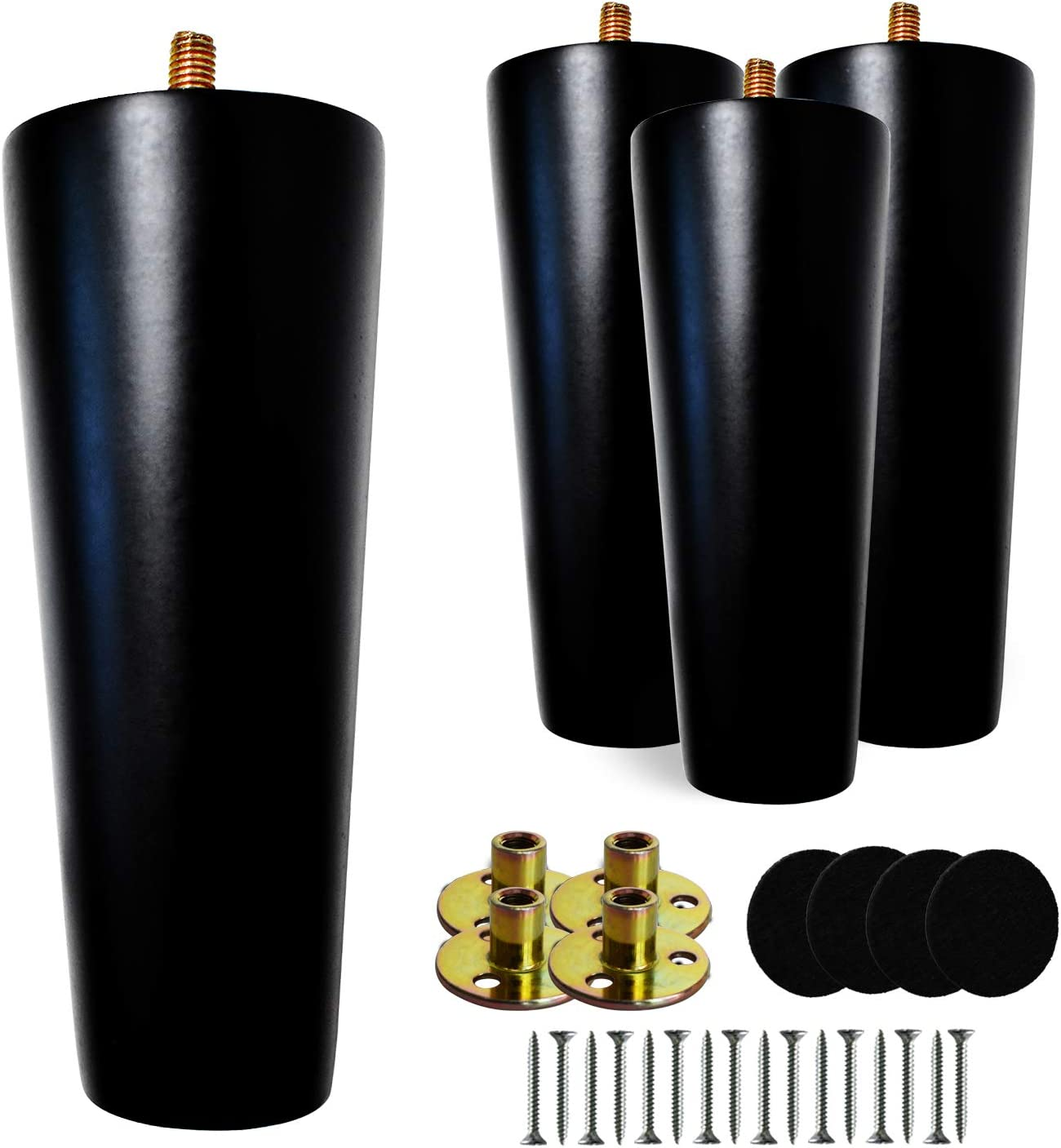 6Inch Solid Wooden Furniture Legs, Black Furniture Legs for Sofa and Cabinet Feet, 100% Wood Replacement Legs for Ottoman Sofa Coffee Table TV Stand,Set of 4 Wood Legs with Mounting Plate Screw