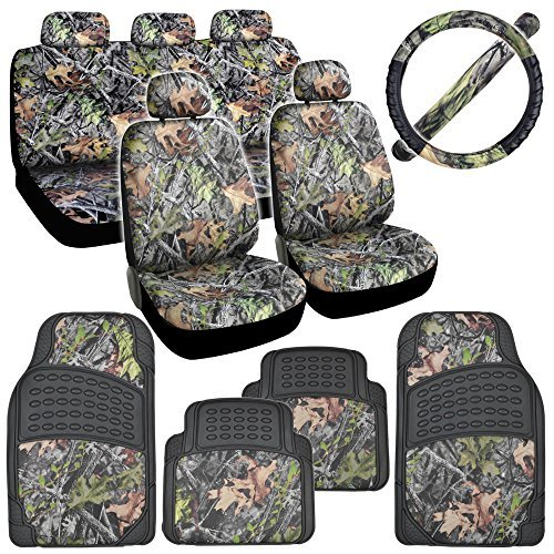 Hawg Camo Seat Covers Heavy Duty Rubber Floor Mats w/ Camouflage Inlay & Cushion Grip Steering Wheel Cover - Front Floor Cover Vinyl