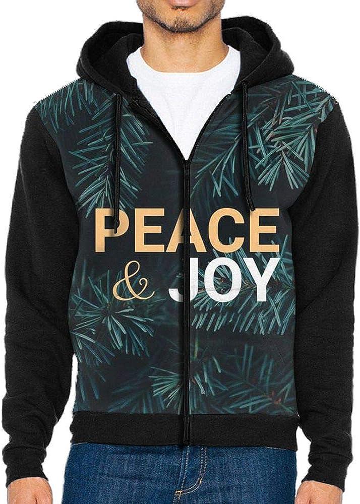 H.F.K.S Peace and Joy Mens Full-Zip Hooded Fleece Sweatshirt