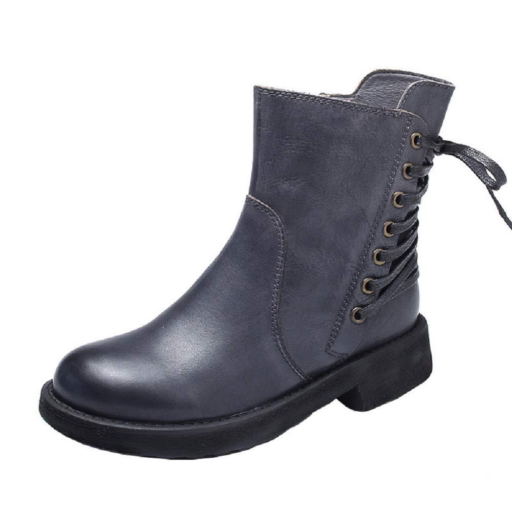 ZHRUI Schnüren Sich Frauen Stiefel Zipper Soft Leather Martin Schuhe (Farbe   Grau, Größe   EU 39)