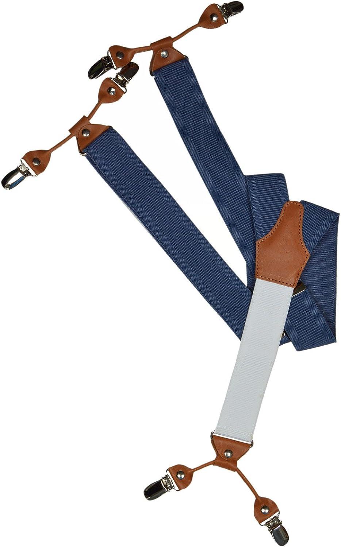 3,5cm 6 clip modello con posteriore Bianco//Pelle Marrone Olata Formal Bretelle