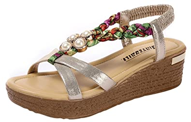 99c68caef0 Wedge Sandals for Women, Floral Platform Summer Shoes Beaded Bohemian Style  (5, Gold