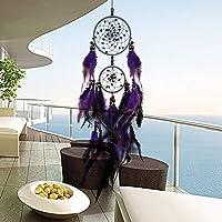 SUDADY-Home Atrapasueños campanillas Plumas púrpuras Misterioso Artesanía