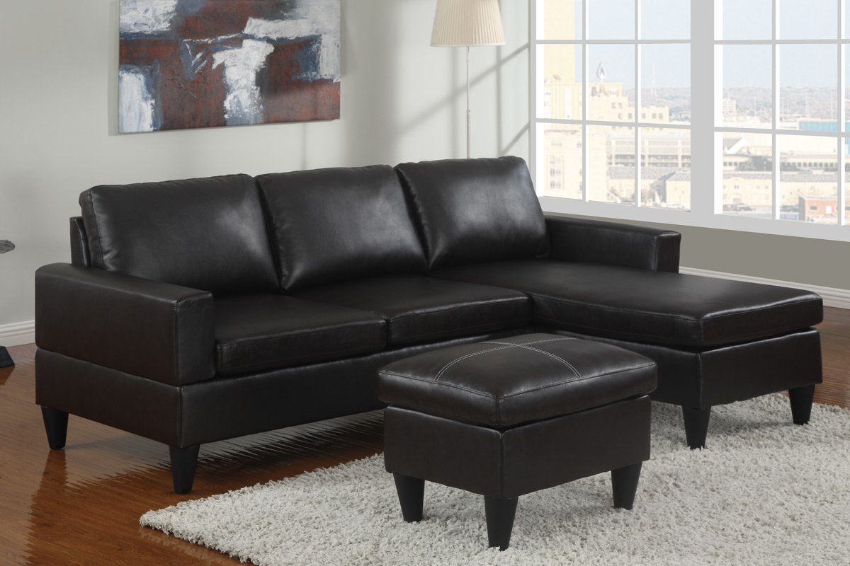 Amazon: Reversible Left / Right Sectional Couch With Free Ottoman Faux  Leather (Black): Kitchen & Dining