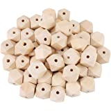 50 Pcs/Lot Natural Geometric Wooden Beads, Unpainted Polyhedron Faceted Wood Beads, 20 mm DIY Wooden Spacer Beads with 4 mm Hole for Handmade Craft Necklace Bracelet Making