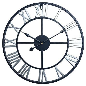 YVSoo Reloj de Pared Grande, 60CM Reloj de Pared Vintage Reloj Silencioso Reloj Decoración para Hogar Cocina Salon Oficina Comedor Habitación (Negro + ...