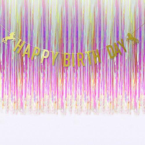 LOFU Unicorn Birthday Party Supplies 17pcs Happy Birthday Banner and Decorative Curtain for Kids Birthday Decorations, Baby Shower Decorations (1x Banner+2xCurtain)
