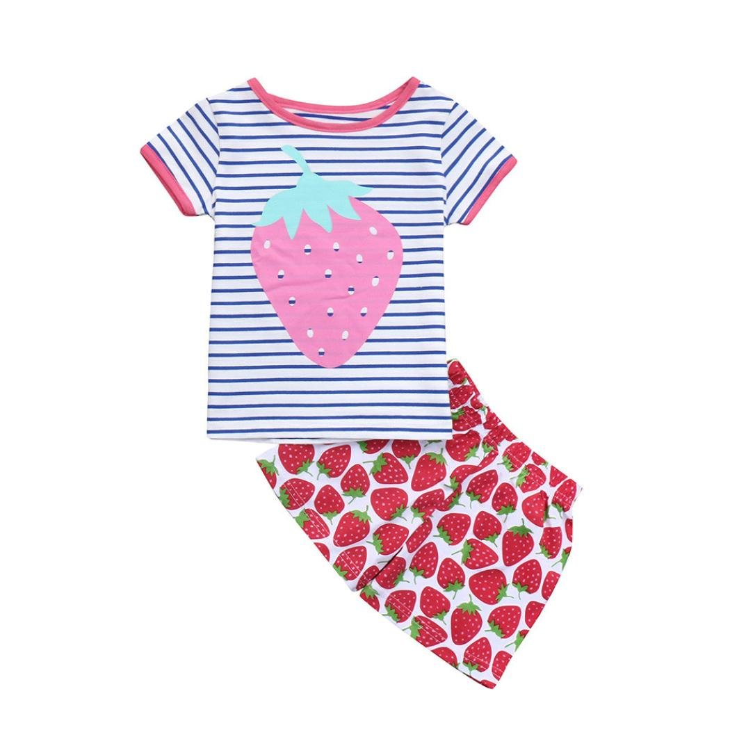 Vincent& July 2PCS Toddler Baby Girls Strawberry Print Stripe T-Shirt Tops+Shorts Set