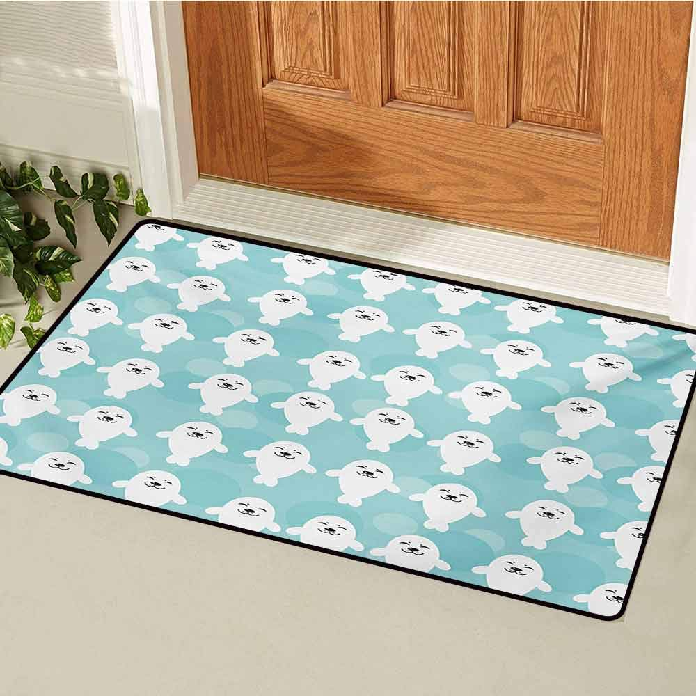 GUUVOR Sea Animals Universal Door mat Baby Seals with Cute Faces Children Smiling Cheerful Kids Theme Door mat Floor Decoration W31.5 x L47.2 Inch Turquoise White Pale Blue