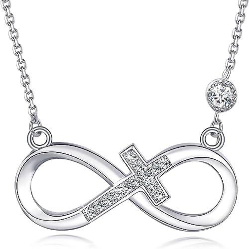 Damen Halskette Echt Silber 925 Kreuz Infinity Unendlichkeit Zirkonia Geschenk