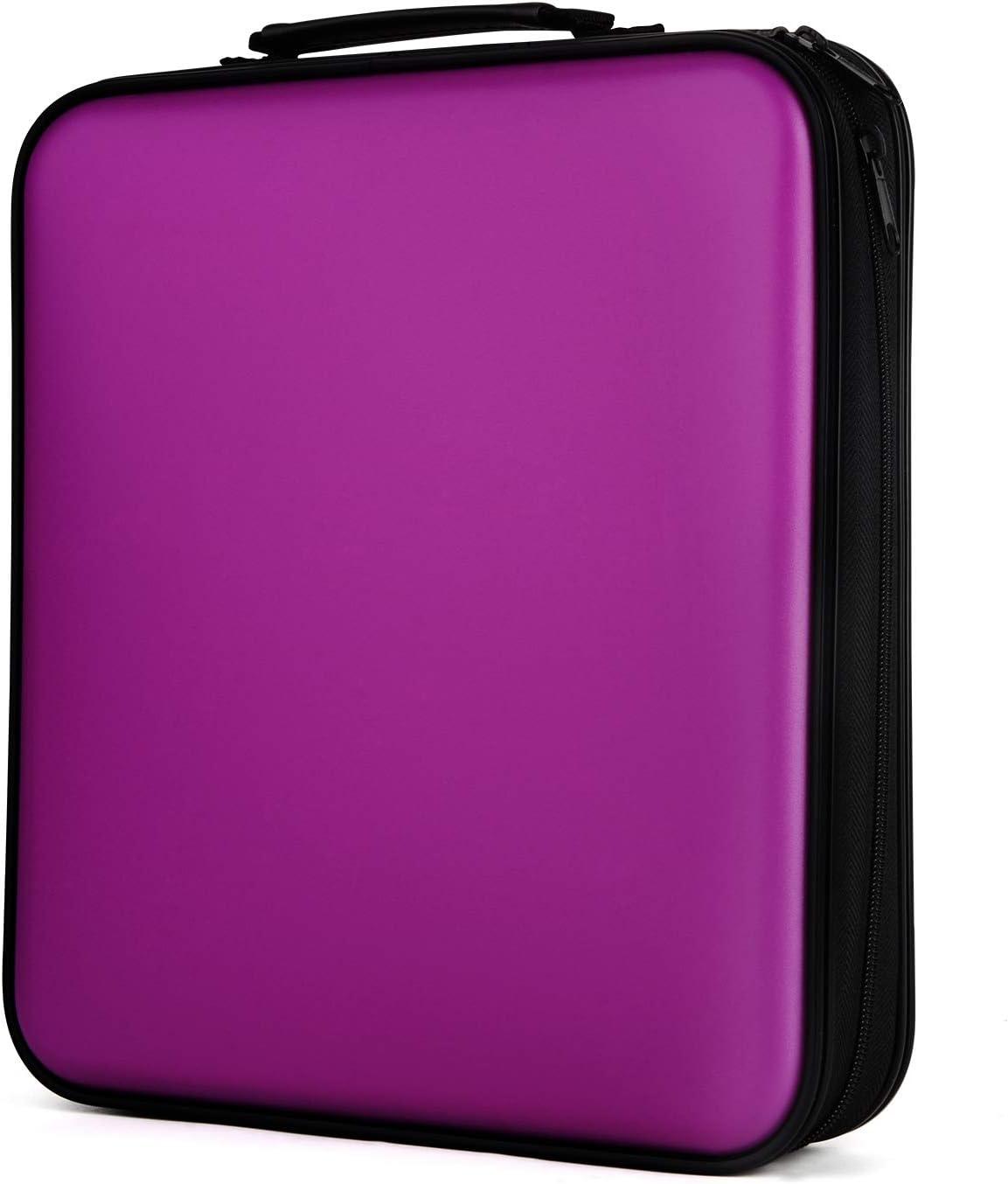 COOFIT CD Case, 160 Capacity DVD Storage DVD Case VCD Wallets Storage Organizer Flexible Plastic Protective DVD Storage Purple