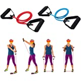 WSERE 2 Pieces Workout Exercise Resistance Bands with Handles for Women Men Home Fitness, Strength Training, Muscle…