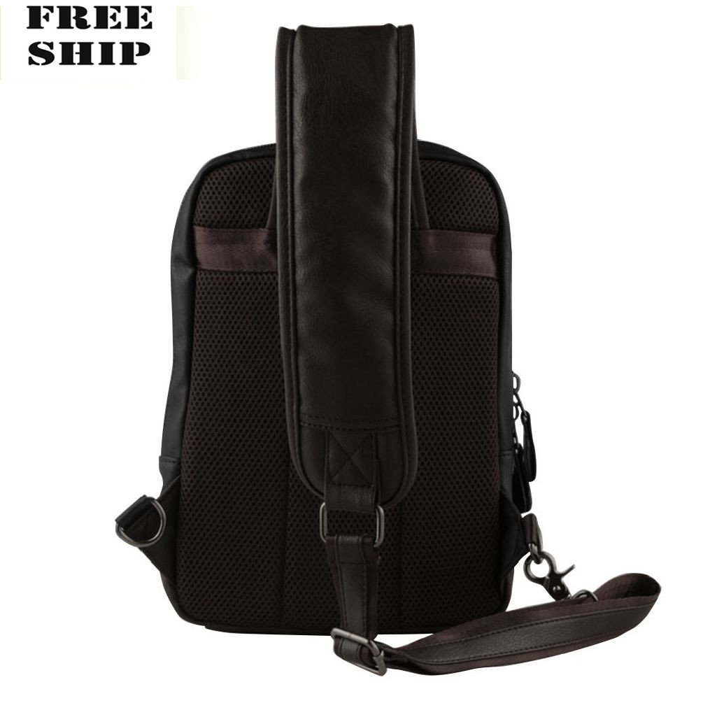 0ca03dd4288 Men Leather Sling Shoulder Chest Bag Backpack Crossbody Bag Travel Riding Pack  Bags Hiking Backpacks