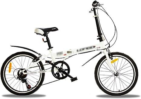 STRTG Bicicleta Plegable,Bikes Plegado Urbana,Marco De Acero De Alto Carbono Micro Bike,Sillin Confort,20 Pulgadas 6 Velocidades Plegable Bicicleta Folding Bike Bicicleta: Amazon.es: Deportes y aire libre