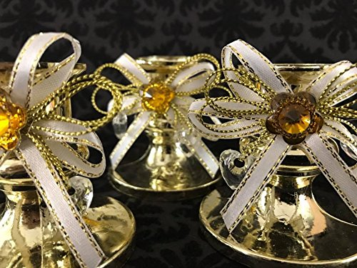 16 Gold Candle Holder Favor with White Ribbon Decoration for Sweet 16 Wedding All Occasions -