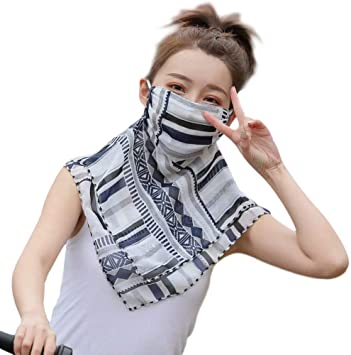 Women Sun Chiffon Neck Gaiter Sun Proof Face Sheild,Boho Print Fishing Hiking Cycling Balaclava for Women